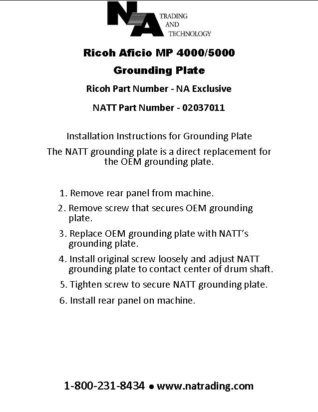Installation Instructions | NA Trading and Technology on radio installation, power supply installation, safety harness installation, generator installation, ignition coil installation, timing chain installation,